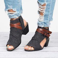 Plus Size Women Sandals Canvas Peep Toe Zipper Sandals – shecici Low Heel Sandals, Low Heels, Sport Sandals, Women Sandals, Shoes Women, Ladies Sandals, Sandals Outfit, Fashion Sandals, Leather Sandals Flat