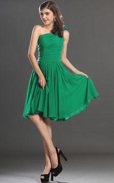 Ärmelloses Chiffon Ein Schulter knielanges langes Abiballkleid/ Festliche Kleid - OkDame