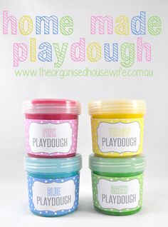 Home-made Playdough recipe from The Organised Housewife. She has also included a Thermomix friendly recipe. Love the printable's from her online store too.