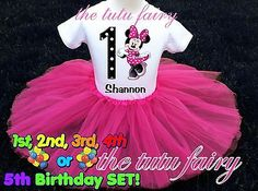 Minnie Mouse Birthday Girl Pink tutu outfit 2t 3t 4t 5t 56 7 Name Shirt Headband