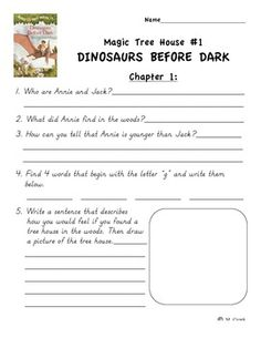 These are worksheets for the Magic Tree House Dinosaurs Before ...