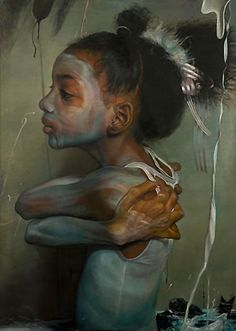 """""""Brown, Black And Beige"""" - Margaret Bowland (b. 1953), oil on linen, 2013 {figurative realism art african-american black female child head profile beautiful girl face portrait drawing #loveart #2good2btrue} margaretbowland.com"""