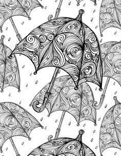 Umbrellas adult colouring page : Colouring In Sheets - Art & Craft Adult Coloring Pages, Coloring Sheets, Coloring Books, Activity Sheets, Color Activities, Printable Art, Art Lessons, Hand Embroidery, Art For Kids