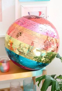 Make Your Own Rainbow Disco Ball! - A Beautiful Mess - - Make Your Own Rainbow Disco Ball! – A Beautiful Mess Celebration – Ballons / Garlands DIY rainbow disco ball for bachelorette party – diy bridal shower ideas – bridal shower decor {A Beautiful Mess} Disco Birthday Party, 70s Party, Party Time, Birthday Parties, Kids Disco Party, Disco Theme Parties, Disco Party Decorations, Halloween Decorations, Diy Bachelorette Party