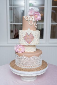 """Elaborate and vintage-inspired wedding cake was created for this rose quartz ballet-inspired styled shoot at the Capen House. """"The beauty of ballet truly cannot be understated.""""  - Samantha E., Corner House Photography"""