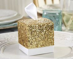 24 Gold Glitter Favor Boxes Sparkling Party Favors by Yacanna