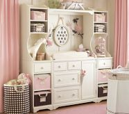 Olivia's room has this Madison Wall Unit, fave piece in the whole nursery!! So versatile and so much organization!! #pottery barn kids