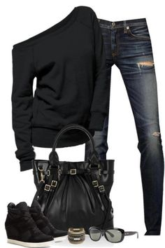 LOLO Moda: Stylish women outfits Love the shoes the most and the off the shoulder sweater Casual Jeans, Denim Jeans, Casual Outfits, Ripped Jeans, Skinny Jeans, Black Outfits, 80s Style Outfits, Sporty Chic Outfits, Grunge Jeans