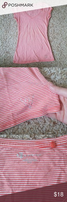 Selling this Guess striped v-neck t-shirt on Poshmark! My username is: buckleboots. #shopmycloset #poshmark #fashion #shopping #style #forsale #Guess #Tops