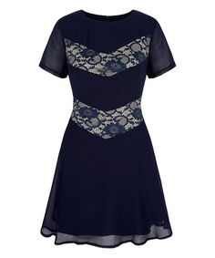 Another great find on #zulily! Navy Lace Skater Dress #zulilyfinds