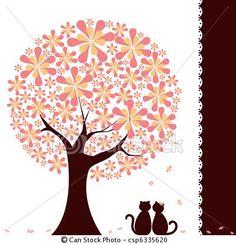 Vetor - springtime, flor, árvore, Amor, gatos - estoque de ilustração, ilustrações royalty free, banco de ícone clip arte, banco de ícones clip arte, fotos EPS, fotos, gráfico, gráficos, desenho, desenhos, imagem vetorial, arte vetor EPS.