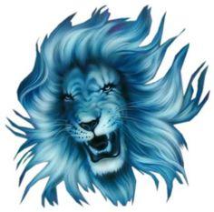 Blue Lion Head Tattoo Design