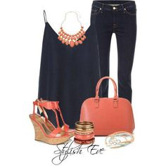 Navy tank top, dark skinny jeans, coral accessories, shoes, and purse.