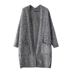 Gray Split Hem Open Front Double Pockets Cardigan ($26) ❤ liked on Polyvore featuring tops, cardigans, gray cardigan, open front cardigan, gray top, grey top and grey cardigan