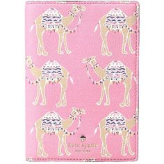 Kate Spade New York Spice Things Up Camel March Passport Holder (Pink... (105 CAD) ❤ liked on Polyvore featuring bags and luggage