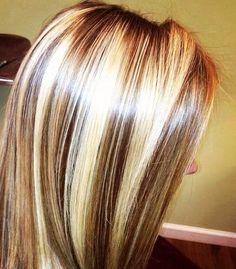 Hair+Highlight   Chunky chocolate lowlites and blonde highlights. Hair ...