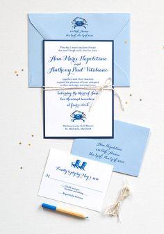 Watercolor blue crab nautical wedding invitations - www.mospensstudio.com