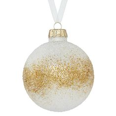 Buy John Lewis Enchantment Glass Beaded Bauble, White And Gold Online at johnlewis.com