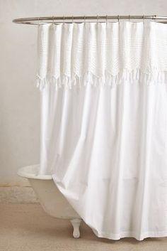 White fringe shower curtain