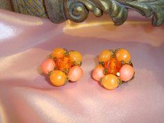 Vintage Orange Beaded Earrings Clip on Earrings by couturecafe, $18.00