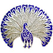 Exquisite Vintage Blue Peacock Silver Filigree Enamel Brooch or Pendant, 15% off through Sept. 7th!