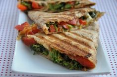 Broccoli & Red Pepper Quesadillas: With non-dairy cheese, this sounds like it'd be a yummy vegan snack/appetizer!