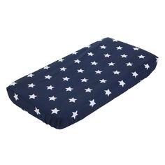 Spannbetttuch-Wiege-blau-mit-weissen-Sternen-40x80-cm