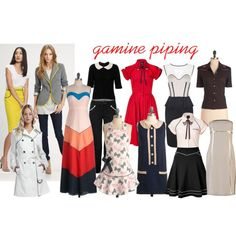 """""""Gamine piping"""" by lightatheart on Polyvore"""
