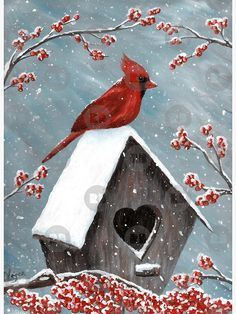 Acrylic Painting of the red Northern Cardinal bird in the winter snow. The snow is gently falling on him, the birdhouse and the frozen holly berries. Original Acrylic Painting Art by Donna Leger. All Rights Reserved. Painting Snow, Winter Painting, Diy Painting, Bird Painting Acrylic, Tole Painting, Christmas Paintings On Canvas, Bird Paintings On Canvas, Cardinal Paintings, Canvas Painting Projects
