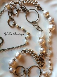 long romantic necklace Repurposed Vintage by joellieboutique.etsy.com   Custom Bridal / Bridesmaid Jewelry Sets Rustic wedding