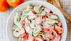 CLASSIC creamy cucumber and tomato salad is so simple to make and is our go-to summer salad. An easy, excellent cucumber tomato salad. Creamy Cucumber Tomato Salad, Creamy Cucumbers, German Cucumber Salad, Cucumber Recipes, Salad Recipes, Cooking Recipes, Healthy Recipes, Healthy Dinners, Summer Salads