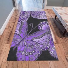 Bold, detailed butterfly pattern for nature lovers, in shades of blue & green. Purple Butterfly, Butterfly Pattern, Painted Rug, Hand Painted, Area Rug Runners, Shades Of Purple, I Shop, Area Rugs, Teal
