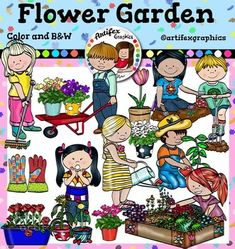 Flower Garden Clip Art set1. Color and B&WThis set is available to purchase as part of the   Gardening clip art BundleFlower Garden Clip Art set1set features 28 items: 15 clip arts in color. 13 clip arts in black & white.Flower Garden Clip Art1 set features:Boy gardener, boy pushing a wheelbarrow, boy watering, girl gardener, girl planting flowers, girl with a watering can, girl planting flowers2, gloves, girl with withered flowers, pink flowers in a flowerpot, purple flowers in a flo...