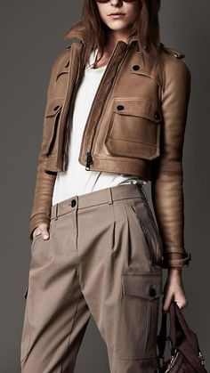 This Burberry London Cropped Flying Jacket! Mode Outfits, Fashion Outfits, Womens Fashion, Trendy Fashion, Looks Style, Style Me, Mode Style, What To Wear, Ideias Fashion