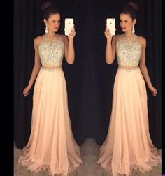 Jewel Neck Illusion Two Piece Prom Dress, Crystal Beaded Floor Length Sweep Train Prom Dress, Stunning Pink Crop Top Chiffon Prom Dress, sold by Dressesofgirl on Storenvy Peach Prom Dresses, Blush Prom Dress, Prom Dresses 2016, Unique Prom Dresses, A Line Prom Dresses, Gowns 2017, Pageant Dresses, Dress Prom, Long Dresses