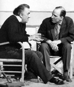 Federico Fellini and Ingmar Bergman on the set of Satyricon (1969)...
