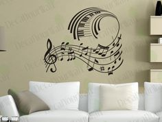 Music Notes Removable Vinyl Wall Decal Sticker Wall Art Home Decor. $22.95 USD, via Etsy.