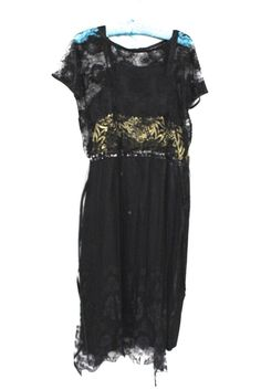 Antique 1920s Gown Black Silk & Lace Dress Evening Gown Damaged Art Deco Cutter #Handmade