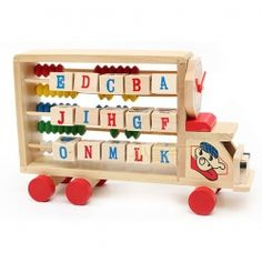 Interesting Multi-functional Educational Toy Wooden Study Vehicles Calculating Car