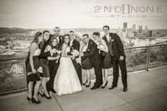 #bridal party, mt washington, pa, overlook, pittsburgh weddings, pittsburgh bridal party photos, black and white bridal party photos, beautiful bridal party, @2nd II None Productions