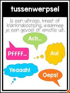 Juf-Stuff: Posters woordsoorten School Tool, School Hacks, Learning Quotes, Fun Learning, Afrikaans Language, Learn Dutch, School Computers, Poster S, School Posters