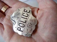 ORNATE-Antique-SPECIAL-POLICE-Vtg-ALLEN-BROS-Boston-Mass-Obsolete-BADGE-NICE