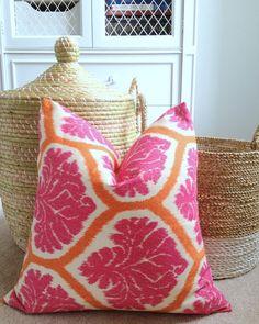 Pink and Orange Ikat Pillow Cover  Designer Pillow  18 by pickfair, $38.00