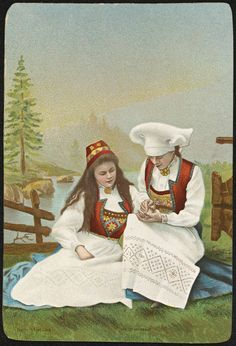 To kvinner i bunad / Two women in national costumes (National Library of Norway)