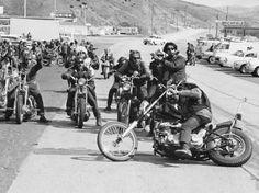 Hell's Angels Motorcycle Gang Members Preparing to Ride to Bakersfield