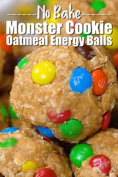 These No Bake Monster Cookie Oatmeal Energy Balls will feel like a special treat but are actually a healthy after school snack nobake energyballs energybites healthysnack easysnack afterschoolsnack oatmeal granola kidfriendly fingerfood snack Healthy Afternoon Snacks, Healthy Snacks For Kids, Easy Snacks, Yummy Snacks, Snack Recipes, Healthy Recipes, Camping Snacks, No Bake Snacks, Healthy Food