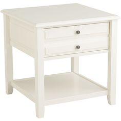 Pier 1 Imports Anywhere Large End Table ($212) ❤ liked on Polyvore featuring home, furniture, tables, accent tables, white, white table, pier 1 imports furniture, pier 1 imports, drawer table and white side table