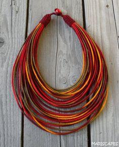 Best 12 Desert Sun yarn-wrapped necklace / tribal / hippie / bohemian / fiber / thread-wrapped – Page 712131759813880758 Fabric Necklace, Seed Bead Necklace, Tribal Necklace, Multi Strand Necklace, Diy Necklace, Etsy Necklaces, Rope Jewelry, Diy Jewelry, Beaded Jewelry