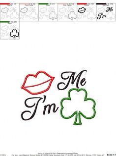 St. Patrick's Day Embroidery Design Kiss Me by sosassyembroidery