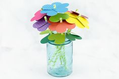 Just in time for spring, kids of all ages will enjoy making a vibrant bouquet of paper heart flowers with colorful scrapbook paper, green paper straws, and a heart paper punch. Preschool Crafts, Crafts For Kids, Arts And Crafts, Craft Kids, Flowers For Valentines Day, Toddler Valentine Crafts, Straw Crafts, Idee Diy, Paper Hearts